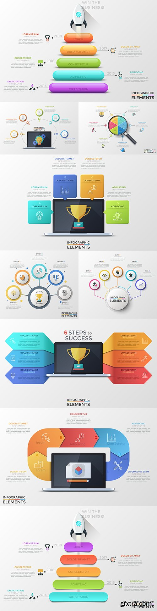 Business infographics options elements collection 151
