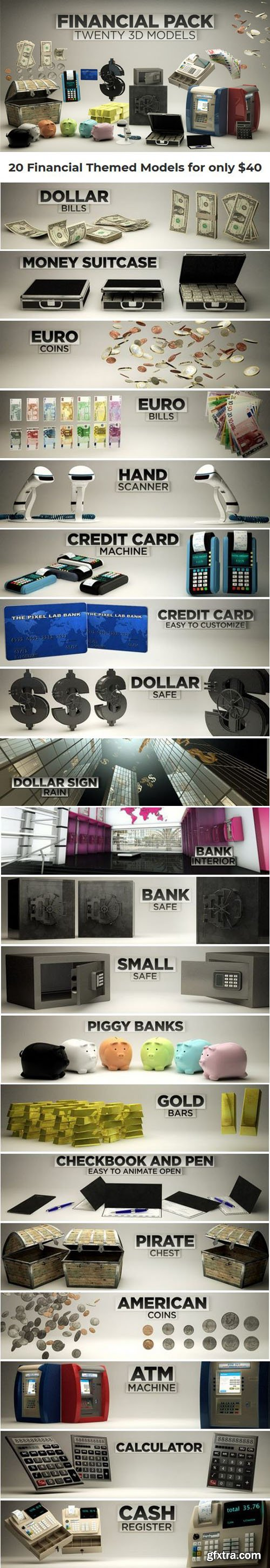 3D Financial Pack for Cinema 4D R12 + Textures