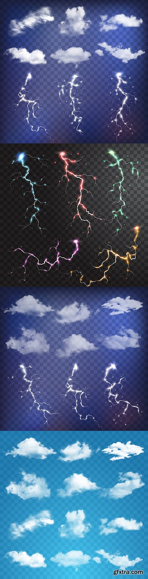 Clouds and realistic lightning flash elements and sparks