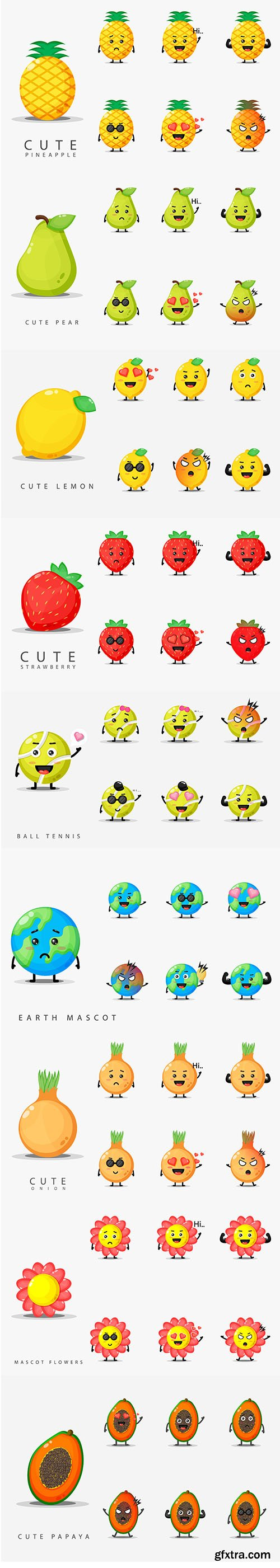 Set Of Cute Face Mascot Design