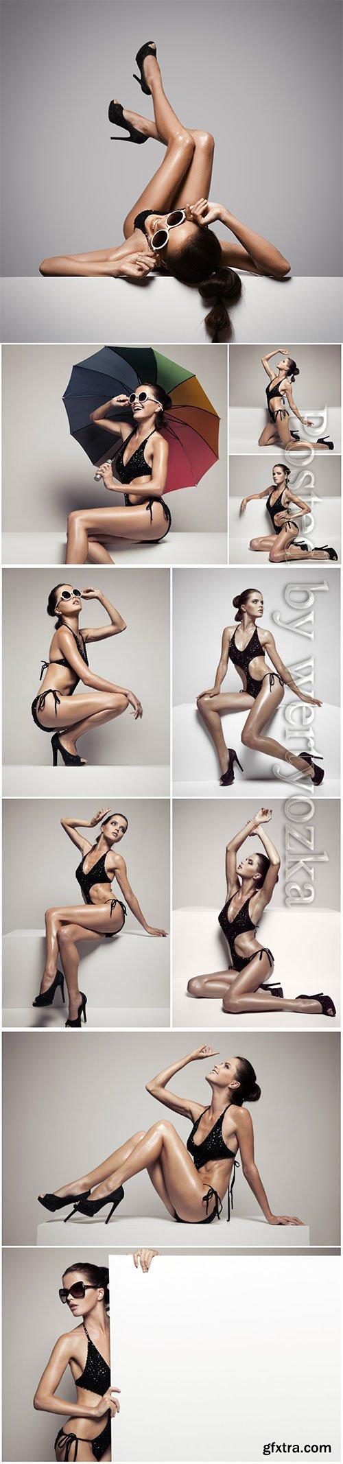 Glamorous girl in a bikini beautiful stock photo