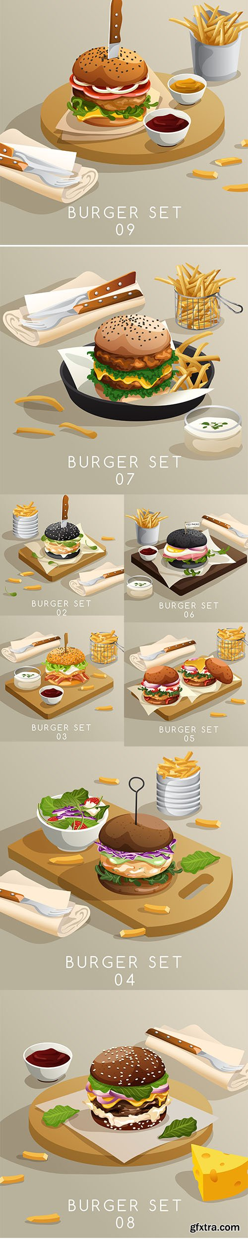 Lunch Set of Burgers French Fries Illustration