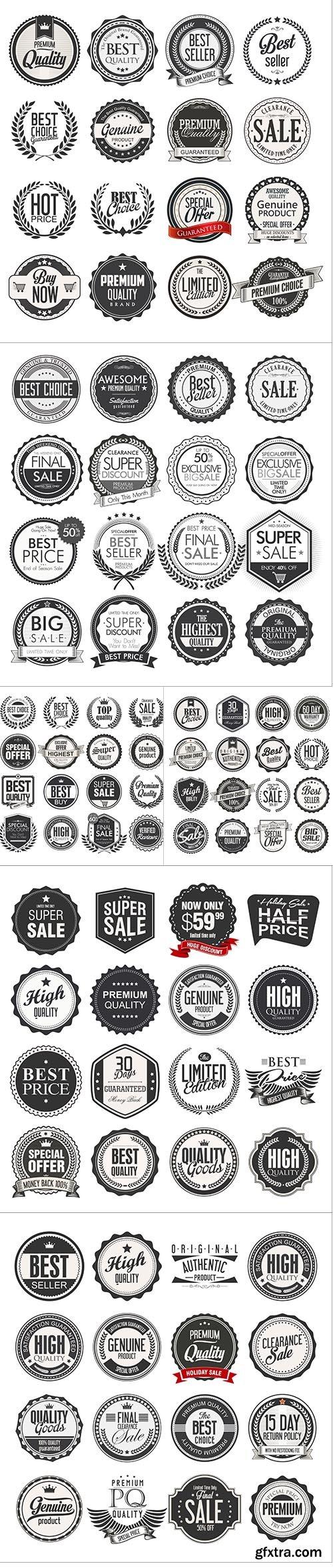 Retro Vintage Sale Badges Labels Collection