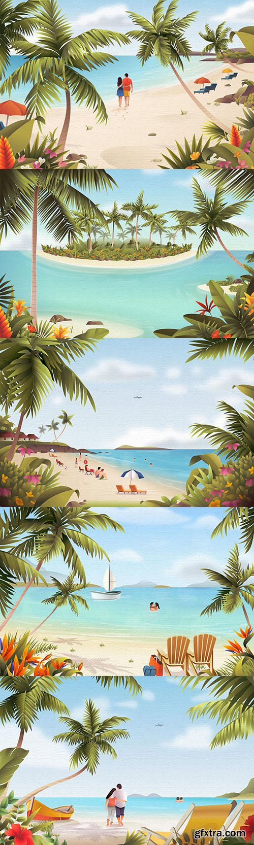Summer sandy beach and palm watercolor illustrations