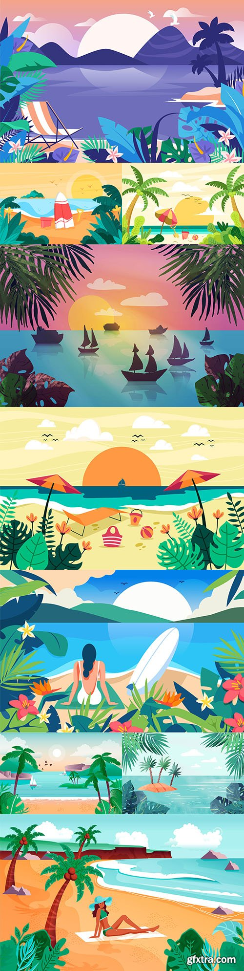 Summer landscape with beach and palm background design