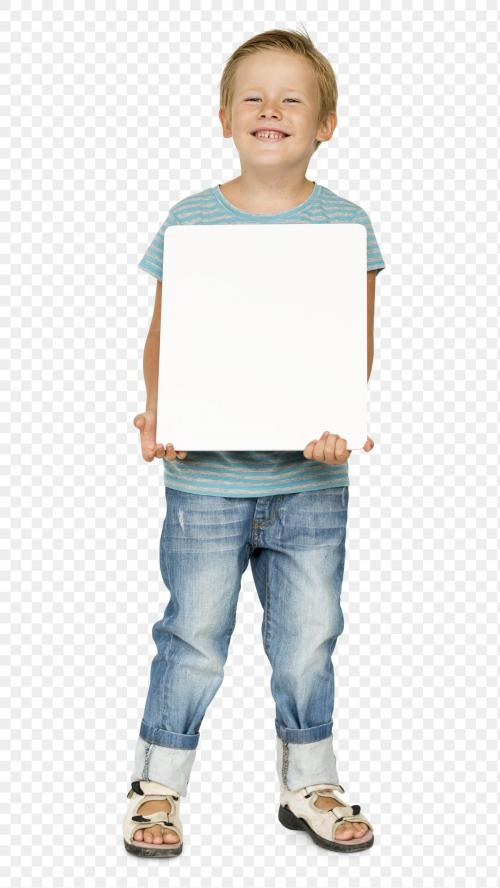 Cute little boy with an empty board transparent png - 1232542