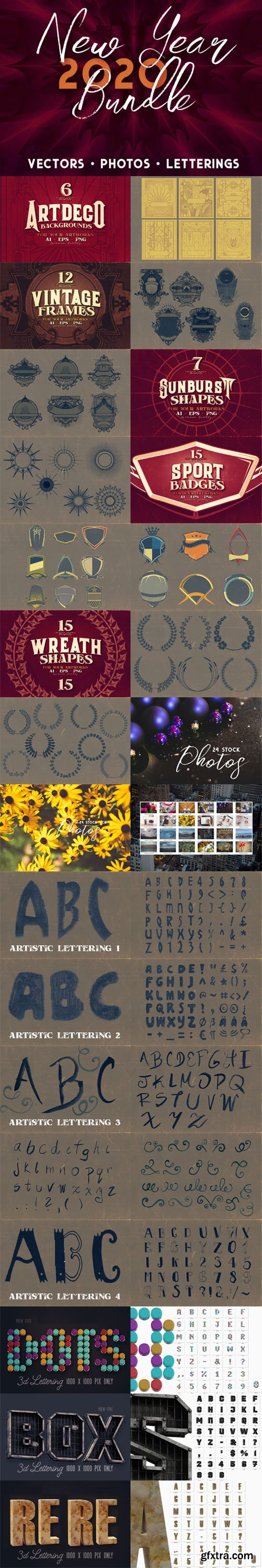 New Year 2020 Bundle [Vectors - Photos - Letterings]