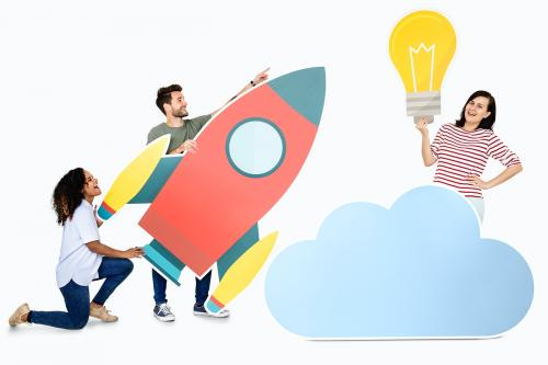 Cloud storage and innovation concept shoot featuring a rocket icon - 451476