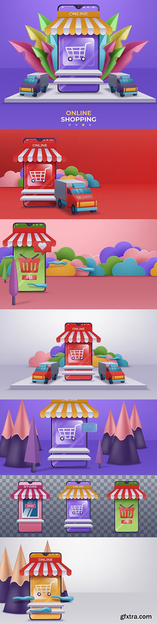 Online store and mobile application design 3d illustration