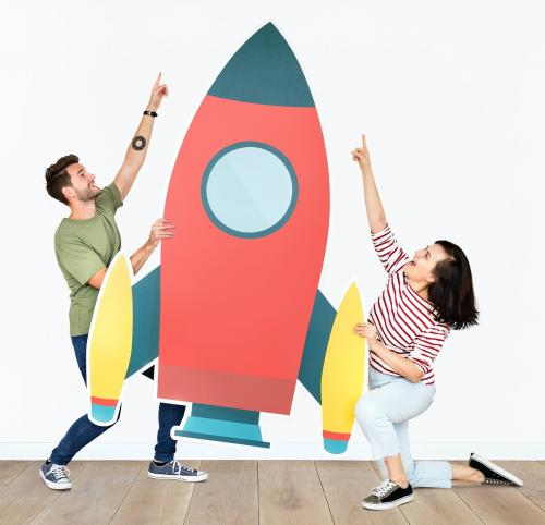 Technology and innovation concept shoot featuring a rocket icon - 451572