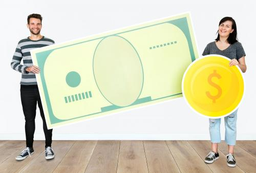 People holding icons related to money and currency concept - 451588