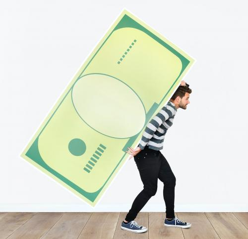 People holding icons related to money and currency concept - 451597