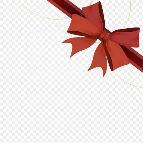 Red ribbon bow element transparent png - 1234197