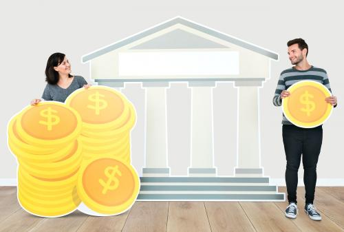 People holding icons related to money and currency concept - 451609