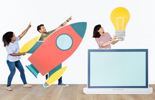 Technology and innovation concept shoot featuring a rocket icon - 451613