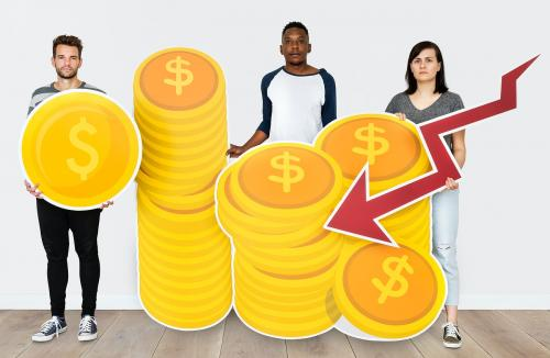 People holding icons related to money and currency concept - 451631