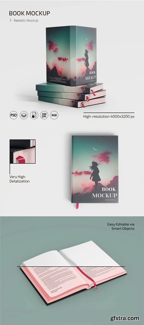 Book PSD Mockup - 3 Realistic Templates