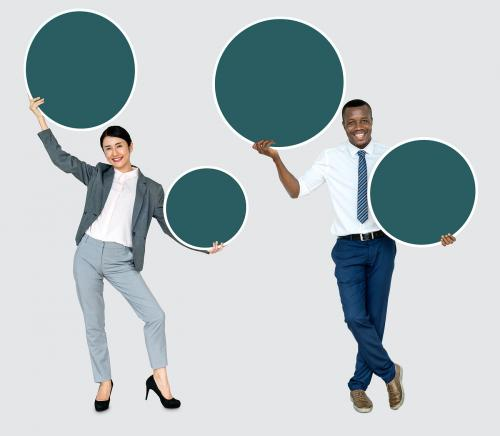 Business partners holding blank circles - 468221