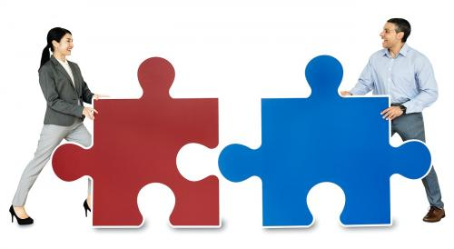 Business people connecting jigsaw puzzle pieces - 468242