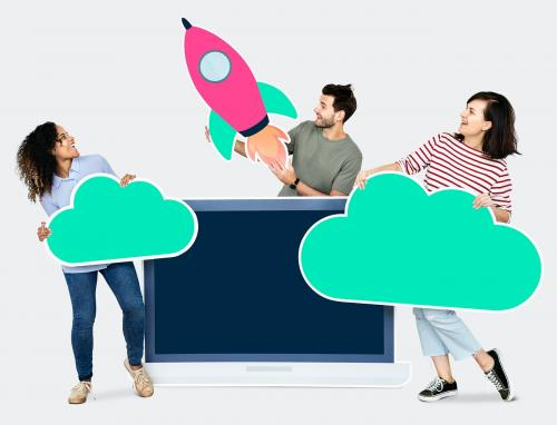 Cloud storage and innovation concept shoot featuring a rocket icon - 450543