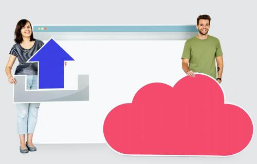 People with icons related to cloud technology and internet - 450573