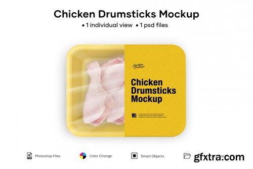 CreativeMarket - Plastic Tray With Chicken Drumsticks 5005178