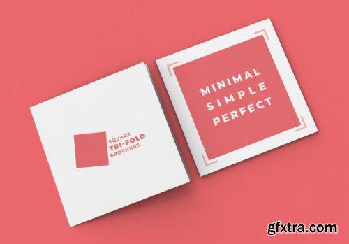 Square tri fold brochure mockup