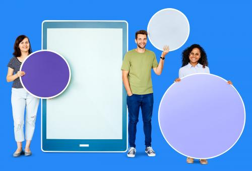 People holding different icons in front of a giant paper cutout - 450665