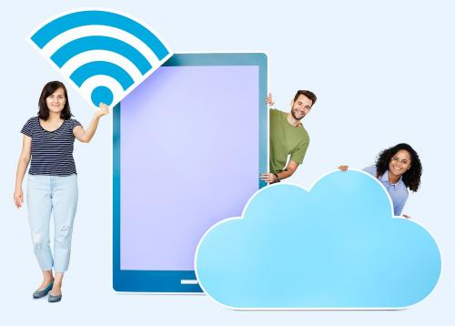 People holding different icons in wireless and cloud technology theme - 450675