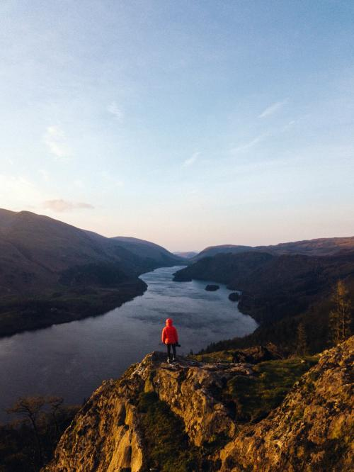Drone shot of Raven Crag and Thirlmere reservoir at the Lake District in England - 935876