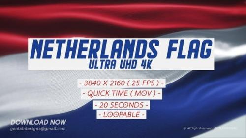 Videohive - Netherlands Flag - Ultra UHD 4K Loopable