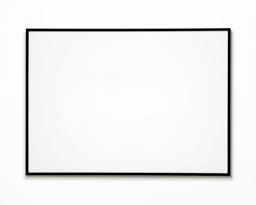 One photo frame isolated on white wall - 328118