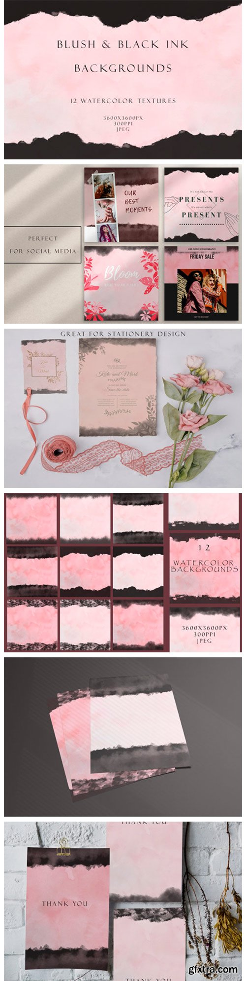 Blush and Ink Watercolor Backgrounds 4577094
