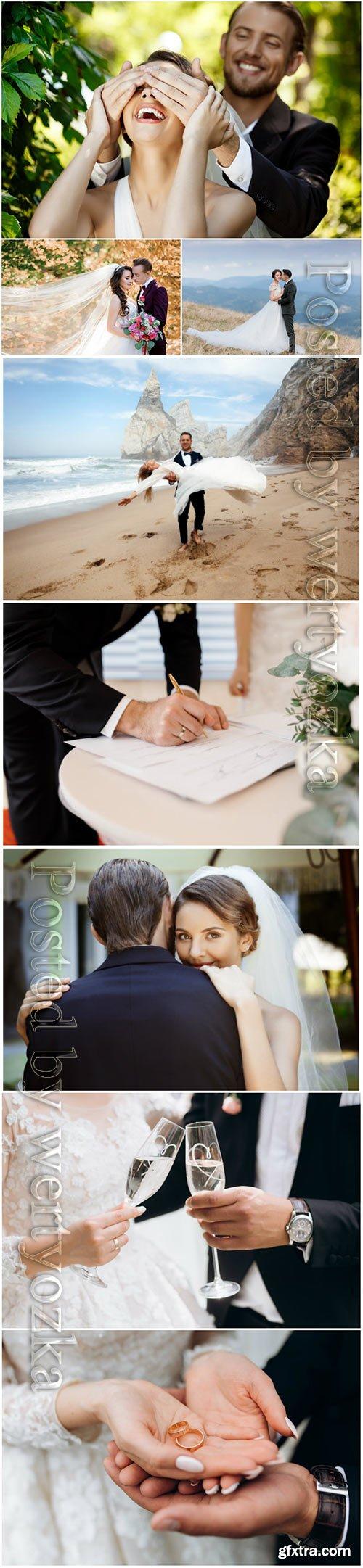 Beautiful wedding couple, bride and groom