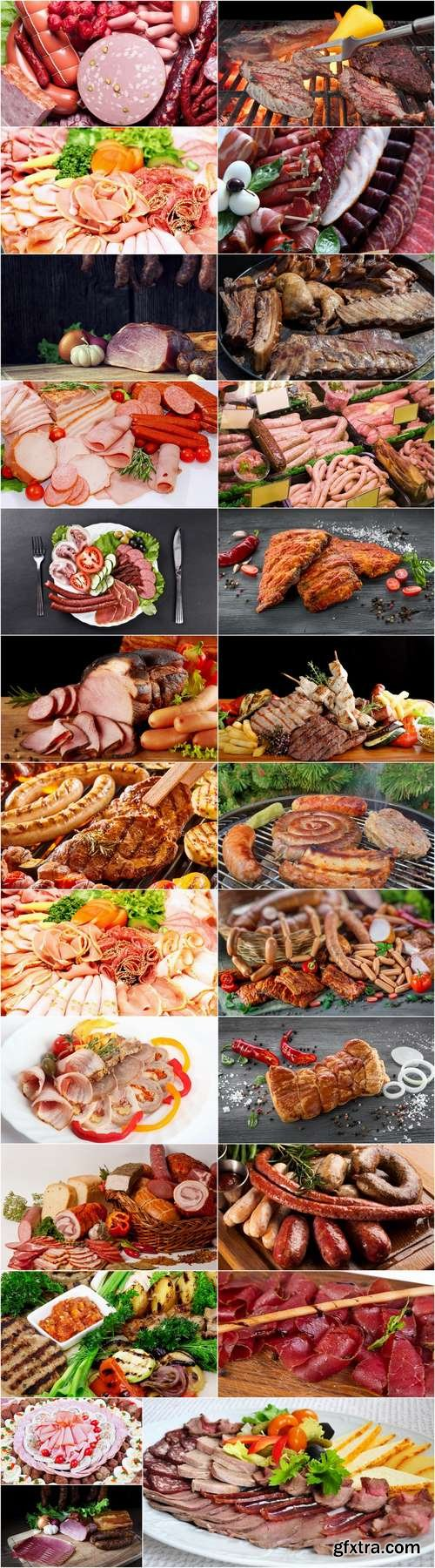 Various types of meat delicacy sliced smoked sausage barbecue meats 25 HQ Jpeg