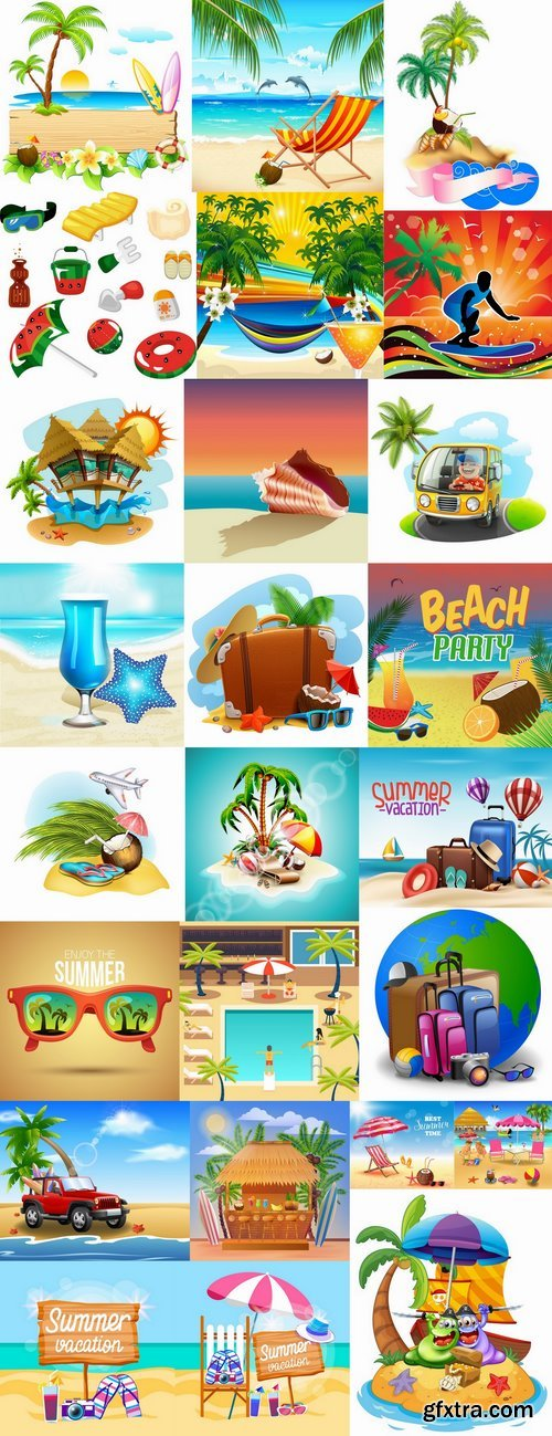 Summer holiday beach vacation cocktail poster flyer journey palm banner 25 EPS