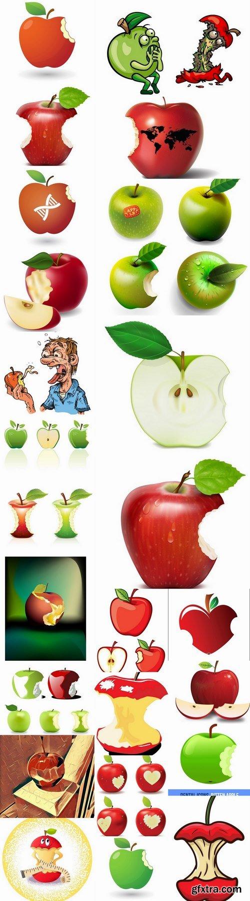 Bitten apple trace of teeth fruit vector image 25 EPS
