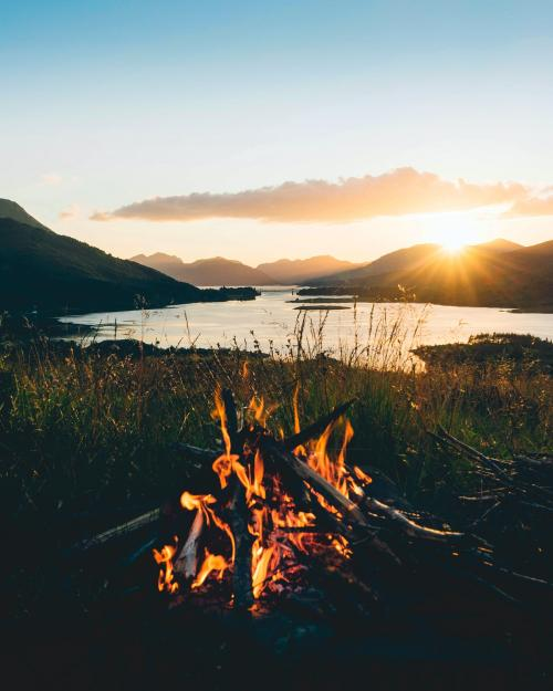 Campfire in the village of Ballachulish, Scotland - 1017175