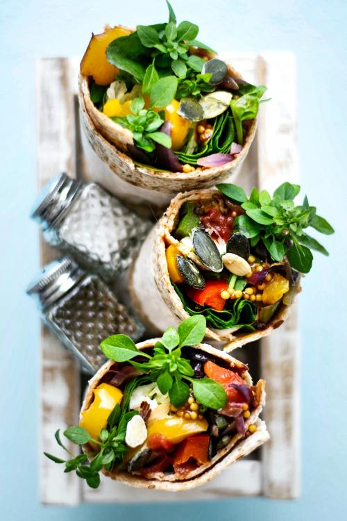 Tortilla wraps with roasted vegetables and mozzarella cheese food photography - 1054385