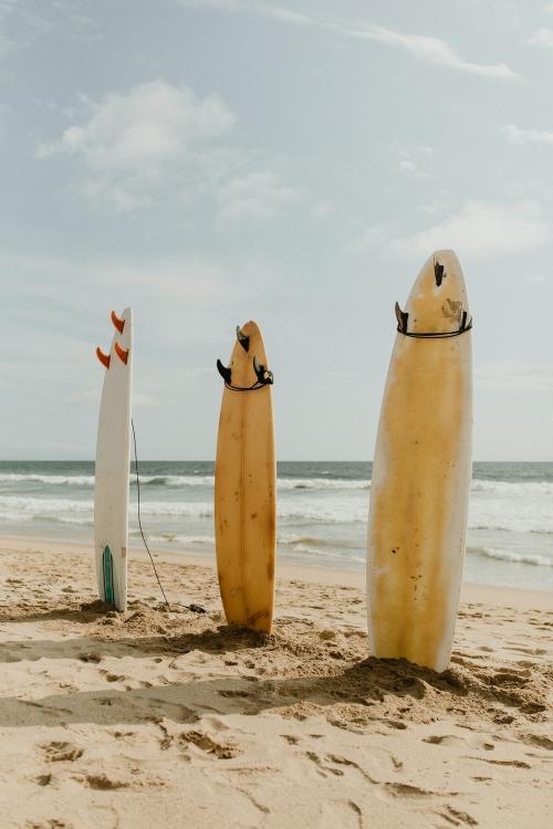 Surfboard mockup on the beach - 1080022