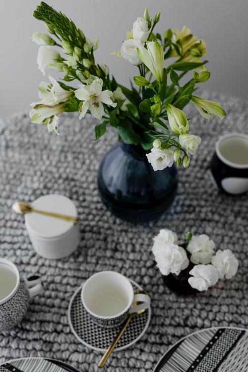 Modern black patterned tableware tea set - 1198148