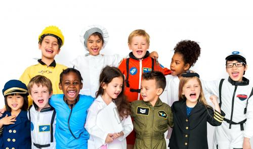 Group of diverse cheerful kids in dream job uniform costumes - 7337