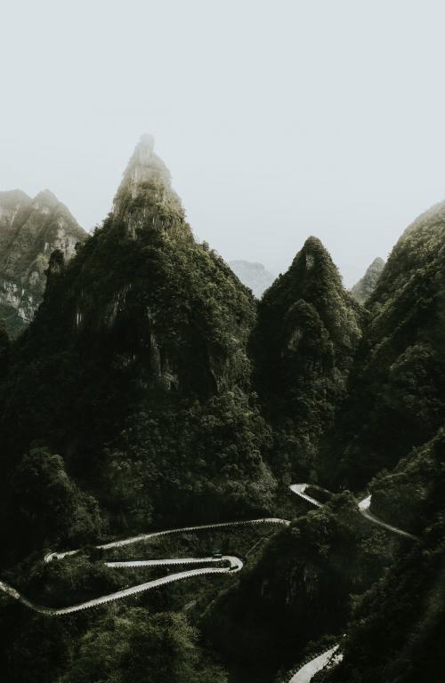 View of Tianmen Mountain road, China - 1198829