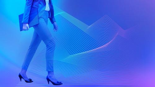Businesswoman walking on a blue background - 1199044