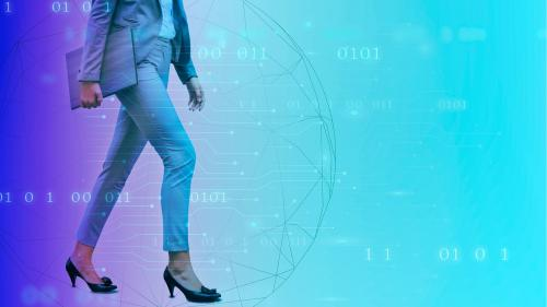 Businesswoman walking on a digital background - 1199054