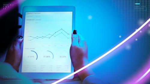 Businesswoman using tablet to show financial report - 1199072
