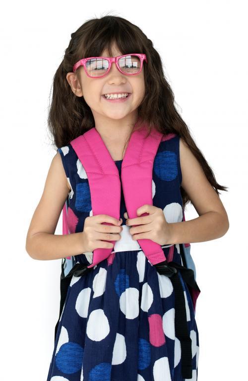Little Girl Backpack Glasses Smiling - 7385