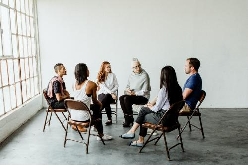 Diverse people in a supporting group session - 1201668