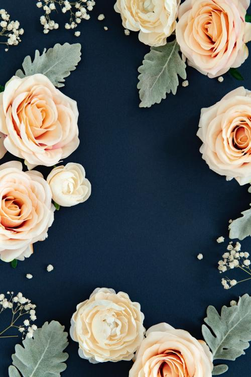 White roses pattern on blue background - 1204152