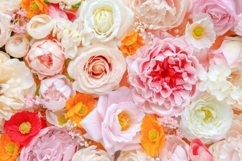 Colorful fresh flowers patterned background - 1204319